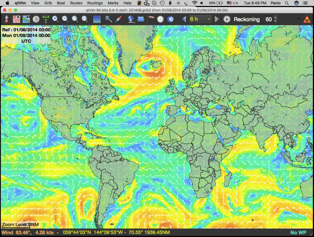 Plannina a route with historical wind GFS data with qtVlm